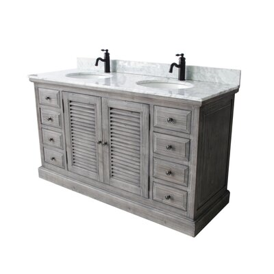Quinlan 60 Double Bathroom Vanity Set Top Finish: Carrera White