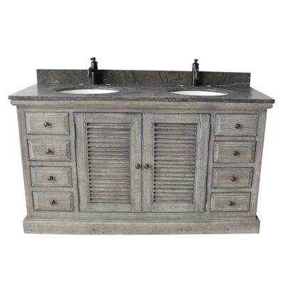 Quinlan 60 Double Bathroom Vanity Set Top Finish: Limestone