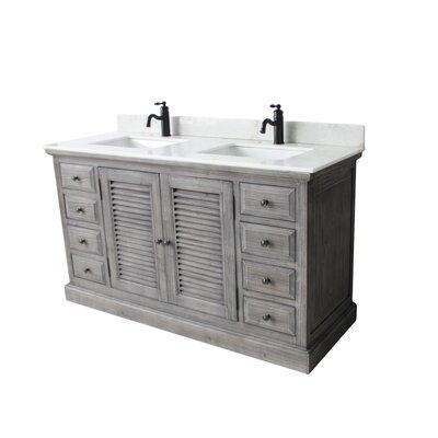 Nippal 60 Double Bathroom Vanity Set Top Finish: Arctic Pearl