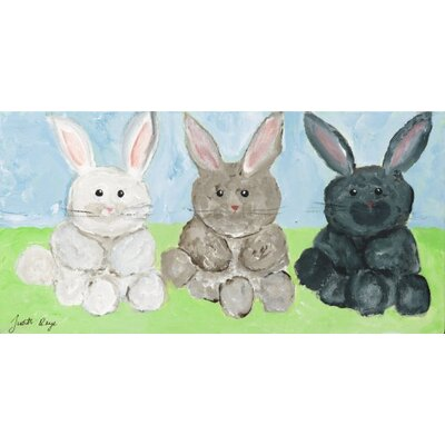 Three Bunnies by Judith Raye Original Painting Print KPBUN1206