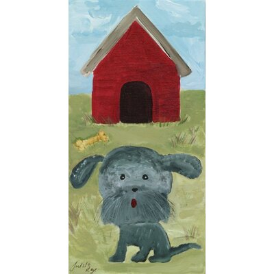 Dog with Red Doghouse by Judith Raye Original Painting Print KPDRH0612