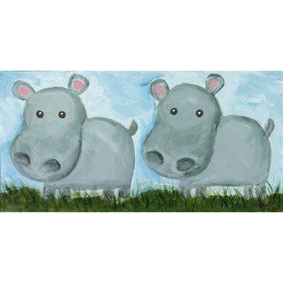 Two Hippos by Judith Raye Original Painting Print KPHPO1206