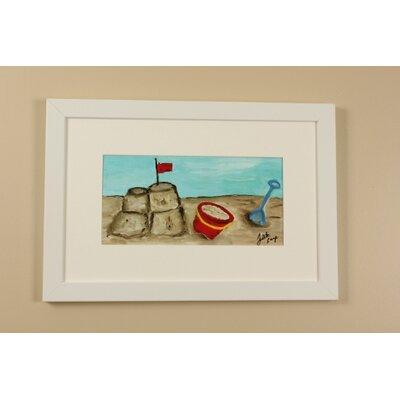 Beach Sandcastle by Judith Raye Framed Painting Print KFWSAC1206