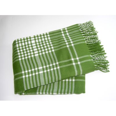 Plaid Fringed Throw Color: Moss Green