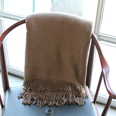 Brushed Rayon from Bamboo Fringed Throw Color: Coffee
