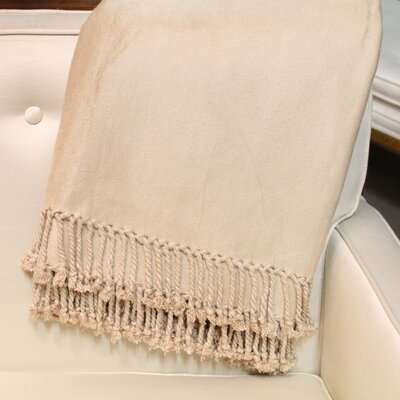 Brushed Bamboo Fringed Throw Color: Khaki