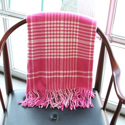 Plaid Fringed Throw Color: Fuchsia