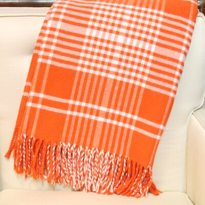Plaid Fringed Throw Color: Orange