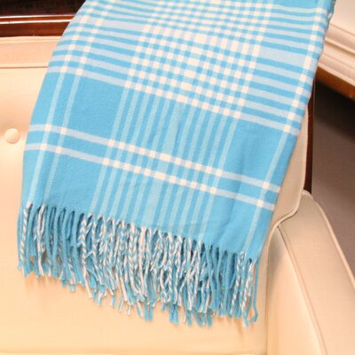 Plaid Fringed Throw Color: Turquoise
