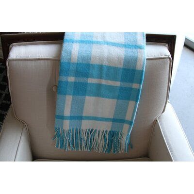 Windowpane Plaid Fringed Throw Color: Turquoise