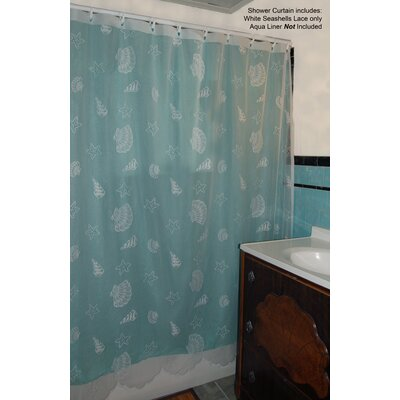 Seashell Lace Shower Curtain Color: White