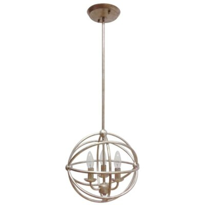 Industrial Orb 3-Light Foyer Pendant Finish: Antique Silver