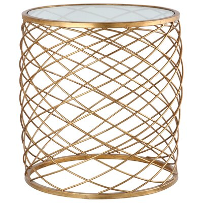 Criss Cross End Table Color: Gold