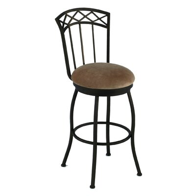 """Tempo Porterville 34"""" Swivel Bar Stool with Cushion - Upholstery : Pattern - Geary Taupe, Base Finish: Aztec"""