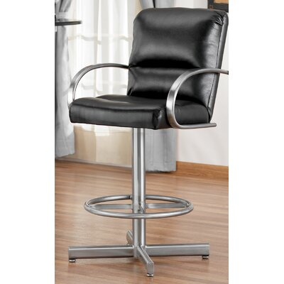 """Tempo Dallas 30"""" Swivel Bar Stool with Cushion - Base Finish: Nickel, Upholstery : Victory Taupe"""
