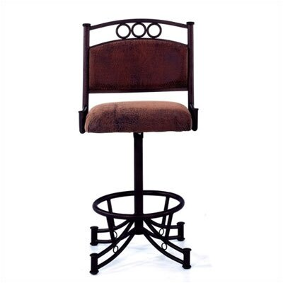 "Tempo Winslow 30"" Bar Stool with Cushion - Base Finish: Midas, Upholstery : Bella Chocolate, Seat: Standard"