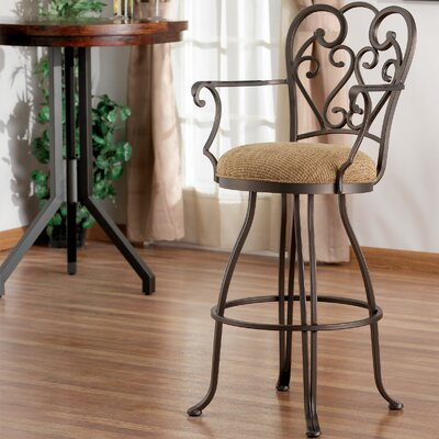 """Tempo Verona 26"""" Swivel Bar Stool with Cushion - Base Finish: Aztec, Upholstery : Victory Taupe, Arms: Without Arms"""