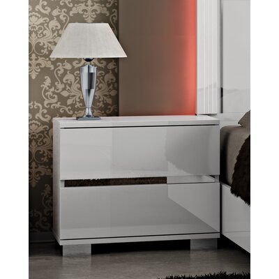Live 2 Drawer Nightstand Color: White Lacquer