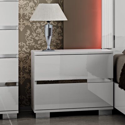 Furniture-Live 2 Drawer Nightstand Finish White Lacquer