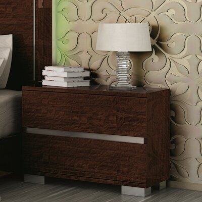 Live 2 Drawer Nightstand Finish: Walnut Lacquer