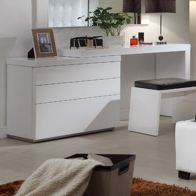 Furniture-Athens 3 Drawer Dresser Color White High Gloss