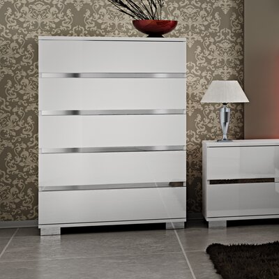Live 5 Drawer Lingerie Chest Color: White Lacquer