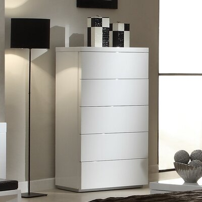 Athens 5 Drawer Lingerie Chest Color: White High Gloss