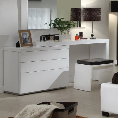 Athens 3 Drawer Dresser Color: White High Gloss