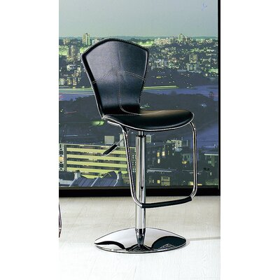 Adjustable Height Swivel Bar Stool (Set of 2) Upholstery: Black