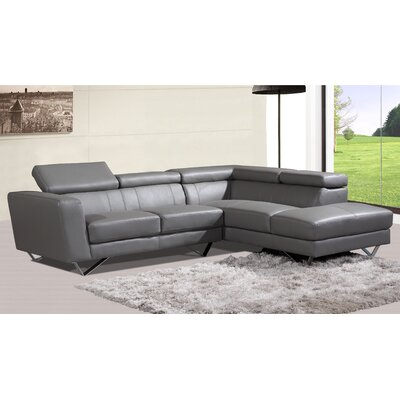 At Home 6201-GREY-RIGHT Amalia Leather Sectional Upholstery