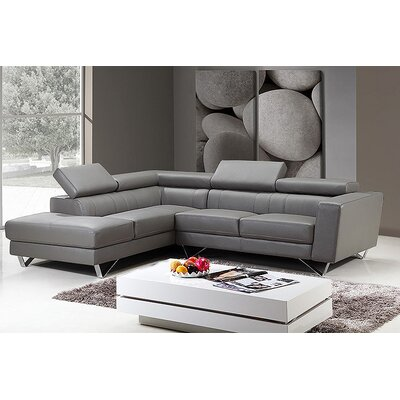 Amalia Leather Sectional Upholstery: Gray, Orientation: Left Hand Facing
