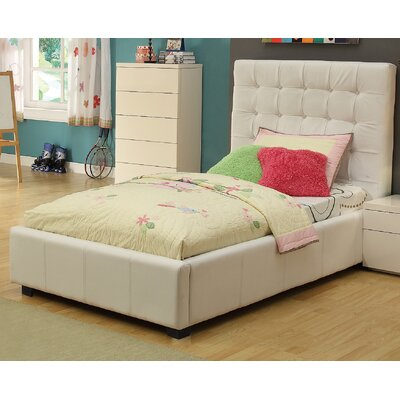Athens Twin Upholstered Storage Platform Bed Color: White