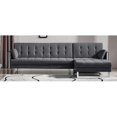 Andrea Sleeper Sectional Upholstery: Argent Gray