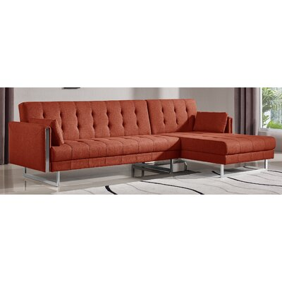 Latish Sleeper Sectional Upholstery: Flaming Orange