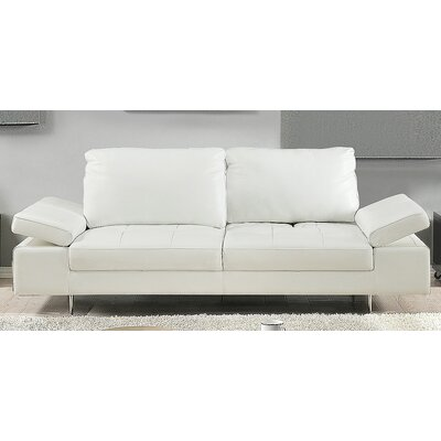Gia Leather Sofa Upholstery: White