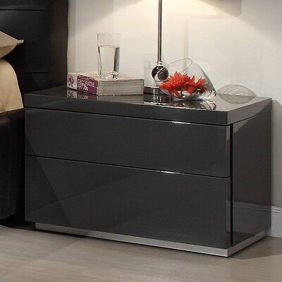 Athens 2 Drawer Nightstand Color: Grey High Gloss
