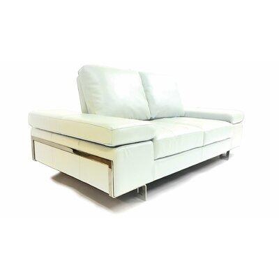 Gia Leather Sofa Upholstery: White
