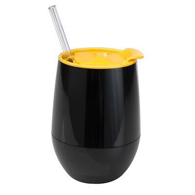 Game Day Gear Stemless 12 oz. Wine Cup Color: Black / Yellow