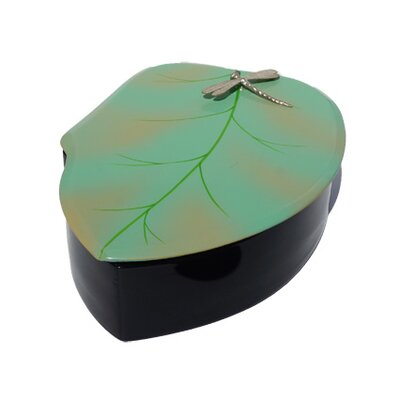 Round Leaf Box With Dragonfly