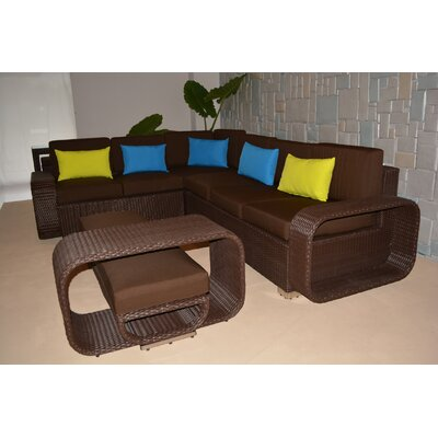 Riviera Large 5 Piece Sectional Seating Group with Cushions Finish: Chocolate Brown