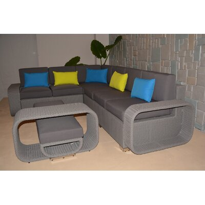 Riviera Large 5 Piece Sectional Seating Group with Cushions Finish: Grey