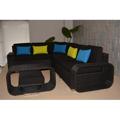 Riviera Large 5 Piece Sectional Seating Group with Cushions Finish: Black
