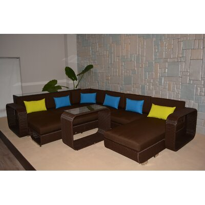 Riviera Deluxe 5 Piece Sectional Seating Group with Cushions Finish: Chocolate Brown