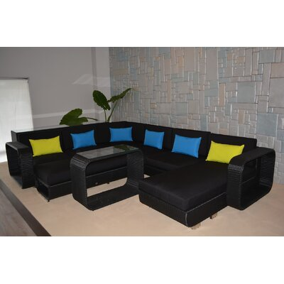 Riviera Deluxe 5 Piece Sectional Seating Group with Cushions Finish: Black