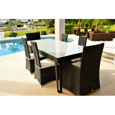 Diamond Rectangular Wicker Dining Table Base Finish/Top Finish: Black Diamond/White