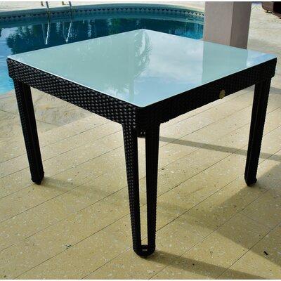 Diamond Square Wicker Dining Table Base Finish/Top Finish: Black Diamond/White