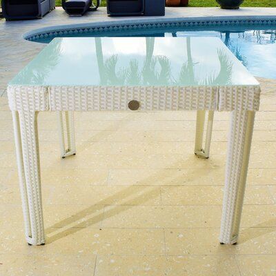 Diamond Square Wicker Dining Table Base Finish/Top Finish: White Diamond/White