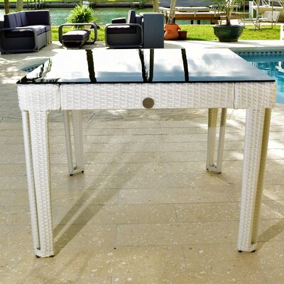 Diamond Square Wicker Dining Table Base Finish/Top Finish: White Diamond/Black