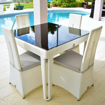 Diamond 5 Piece Dining Set Base Finish/Top Finish: White Diamond/Black