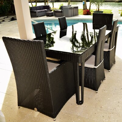 Diamond 7 Piece Dining Set Base Finish/Top Finish: Black Diamond/Black